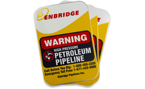 Enbridge Pipe Warning Signage